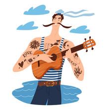 Musical Art With Cartoon Sailo...