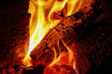 Burning Pieces Of Firewood Tre...