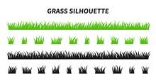 Vector Set Of Green Grass Silh...