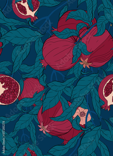 Fototapeta Vector seamless pattern with pomegranate branch with fruits and flowers on blue. obraz