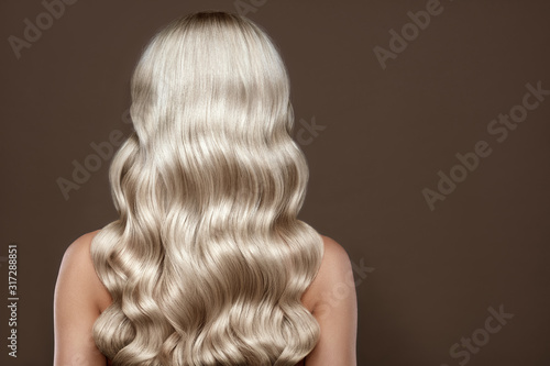 Healthy Long blonde Shiny Wavy hair back view. Volume shampoo. Blond Curly permed Hair. Beauty salon and hair care concept.