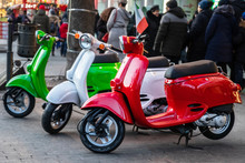 Three Beautiful Colored Mopeds...
