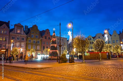 Beautiful christmas tree on the market squere of Grudziadz, Poland