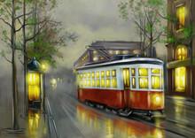 Paintings Landscape, Old Tram ...