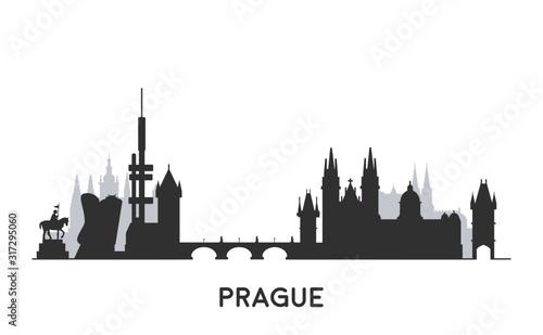 Foto  Prague skyline silhouette.