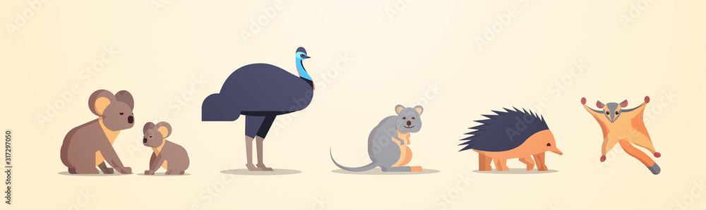 Fototapeta set cartoon endangered wild australian animals collection wildlife species fauna concept flat horizontal vector illustration