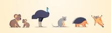 Set Cartoon Endangered Wild Au...