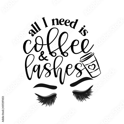 All I need is coffee and lashes - Vector eps poster with eyelashes and latte Wallpaper Mural