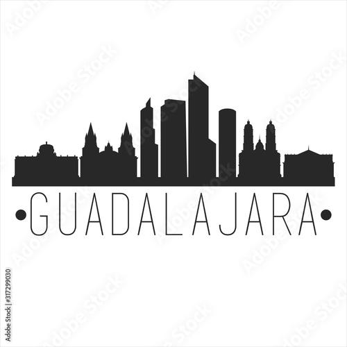 Guadalajara Mexico. City Skyline. Silhouette City. Design Vector. Famous Monuments.