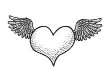 Heart Symbol Fly On Wings Sket...