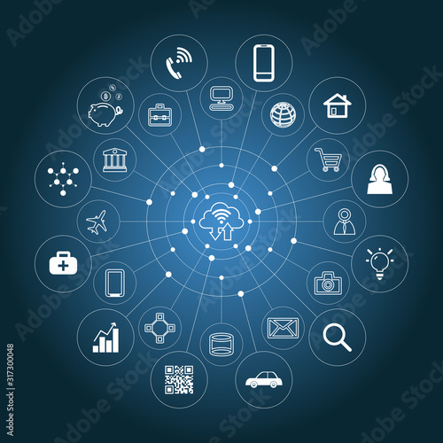 Business and Technology Diagram with Cloud Computing Wallpaper Mural