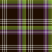 Seamless Pattern In Dark Brown, White, Green And Purple Colors For Plaid, Fabric, Textile, Clothes, Tablecloth And Other Things. Vector Image.
