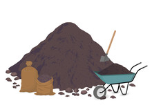 A Pile Of Earth, A Pile Of Soil. Shovel, Bags, Trolley. Vector Illustration On White Background.