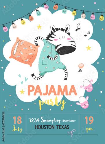 Obraz Pajama party poster with zebra - fototapety do salonu