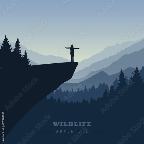 Fotografia hiking adventure girl on a cliff in at sunrise with mountain view vector illustr