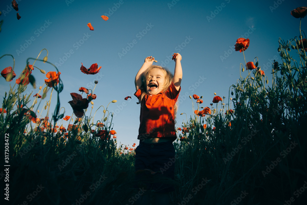 Fototapeta Happiness. Cheerful boy in the field with poppies. Happy walk in nature with a child.