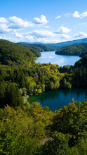 Elevated View Of Lake Surrounded By Trees In Plitvice Lakes National Park, Croatia