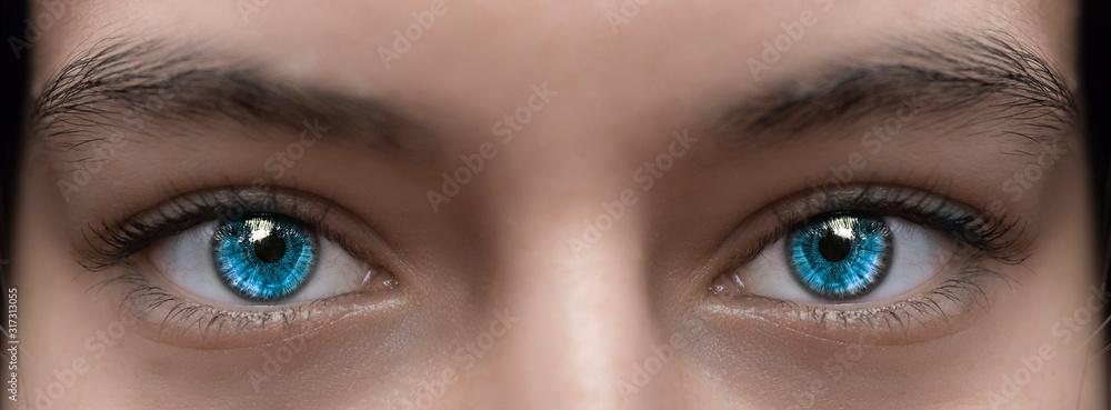 Fototapeta Blue eyes of a girl photographed close-up.