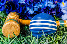 Blue Croquet Ball And Wooden M...