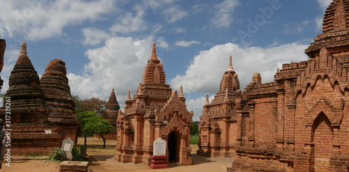different temple ruins on a sunny day, Bagan, Myanmar, Asia Canvas Print