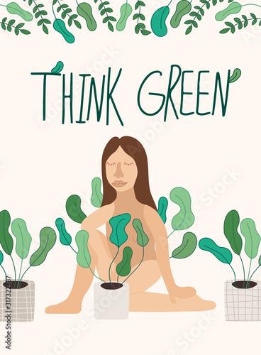 motywacyjny-plakat-z-kobieta-i-domowa-roslina-w-doniczce-i-napisem-think-green-recznie-rysowana-ilustracja-w-prostym-skandynawskim-stylu