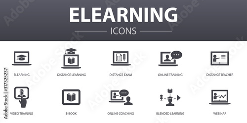 Fotografía eLearning simple concept icons set