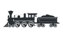 Vintage Silhouette Steam Locom...