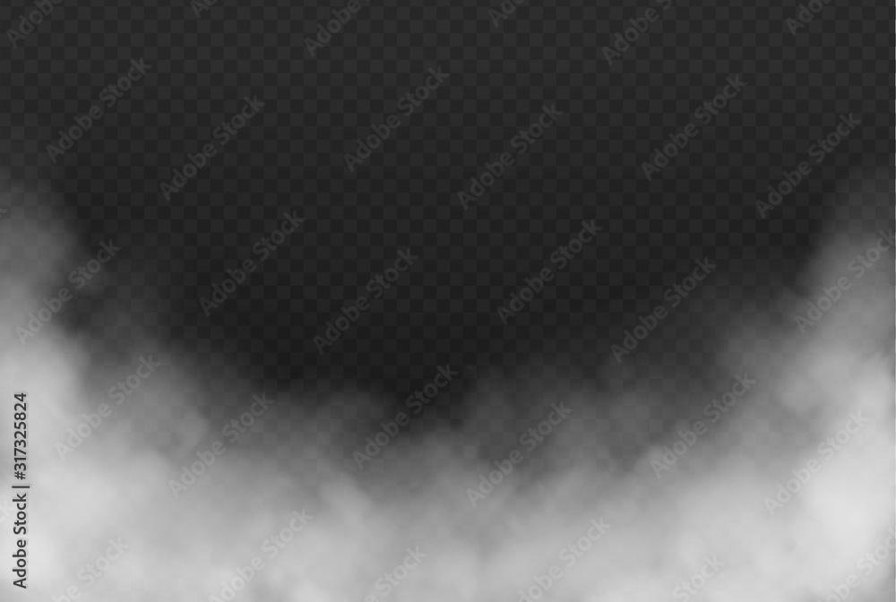 Fototapeta Smoke or fog isolated transparent effect on dark background. White cloudiness, mist or smog background. Vector illustration