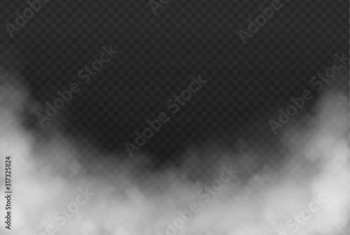 Fototapeta Smoke or fog isolated transparent effect on dark background. White cloudiness, mist or smog background. Vector illustration obraz