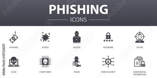 Canvastavla phishing simple concept icons set