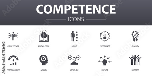 Photo competence simple concept icons set
