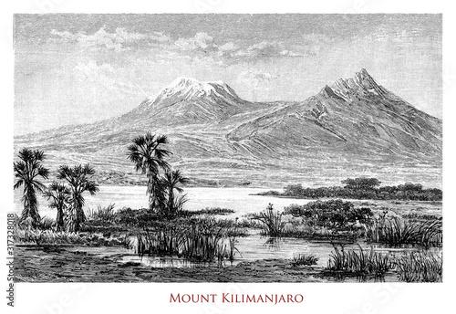 Cuadros en Lienzo Beautiful view of Mount Kilimanjaro dormant volcano in Tanzania, the highest mou