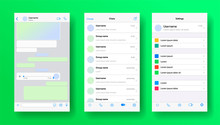 Mobile Messenger Screen Inspired By Whatsapp. Whats Ap Application Mockup. Phone Chat With Voicemail Or Audio Message. Whats App Layout Of Private Account For Business. Vector Illustration.
