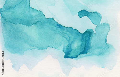 Light turquoise color watercolor illustration, creative background, smeared sky blue shades frame Canvas Print