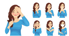 Set Of Sad Beautiful Woman With Flu Or Cold Symptoms. Fever, Headache, Rhinitis, Coughing, Sore Throat, Wearing Mask. Isolated Vector Illustration