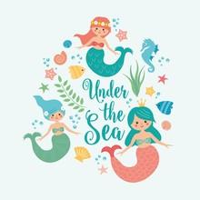 Under The Sea Card With Mermai...