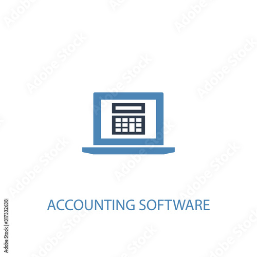 Accounting software concept 2 colored icon Canvas Print