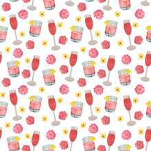 Watercolor Seamless Pattern With Pink Cocktails And Flowers. Isolated On White Background. Watercolor Pattern With Glasses Of Wine And A Cocktail. Suitable For The Design Of Hen Parties, Girls Printin