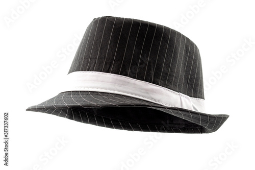 Chic hats and formal attire concept black pinstripe fedora hat isolated on white Canvas Print