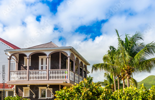 Colorful houses in the Orient Bay district on the island of Saint Martin in the Fototapete