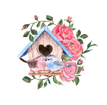 Romantic Watercolor Card With Two Lovely Birds Sitting On Bird House, And Beautiful Roses Branch, Isolated On White Background. Spring Floral Illustration, Valentines Day Theme.