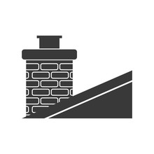 Classic Brick Chimney On Slanted Roof In Vector