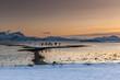 Amazing Sunset over Lofoten island, Norway. Dramatic winter landscape