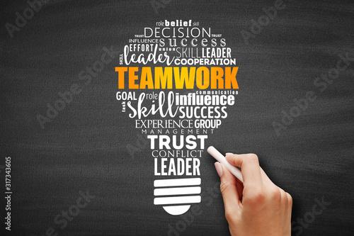 Obraz Teamwork light bulb word cloud, business concept background - fototapety do salonu