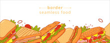 Cartoon Colorful Seamless Pattern Of Appetizing Sandwichs. For Textile, Wrapping Paper, Banners, Background, Wallpaper.