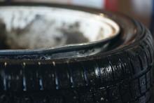 Bent Car Wheel Rim Close Up Ba...