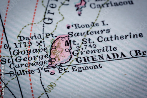 Fototapeta Selective focus of Grenada vintage map from The Century Atlas - Porto Rico and Lesser Antilles expired copyright dated 1897 and 1902 by the Century Company
