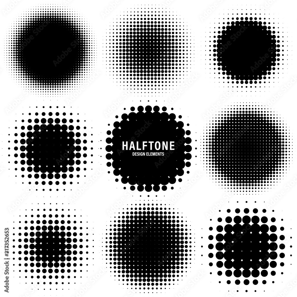 Fototapeta Circle halftone design elements with black dots isolated on white background. Comic dotted pattern.Vector illustration.
