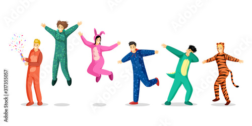 fototapeta na ścianę People in pajamas vector illustrations set. Happy teenage girls and boys in colorful costumes, children in funny pyjamas cartoon characters. Slumber party, overnight stay, sleepover design elements