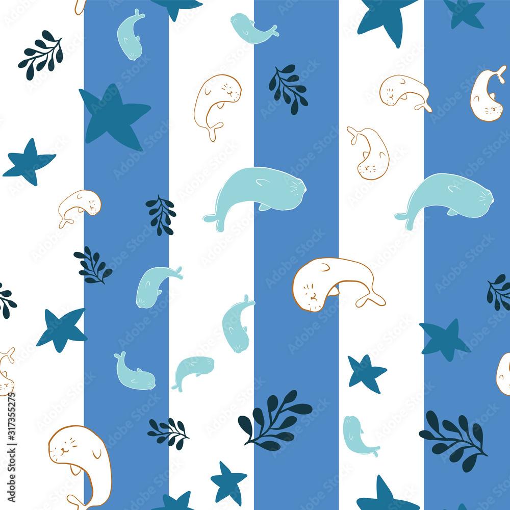 seal ocean seamless pattern design